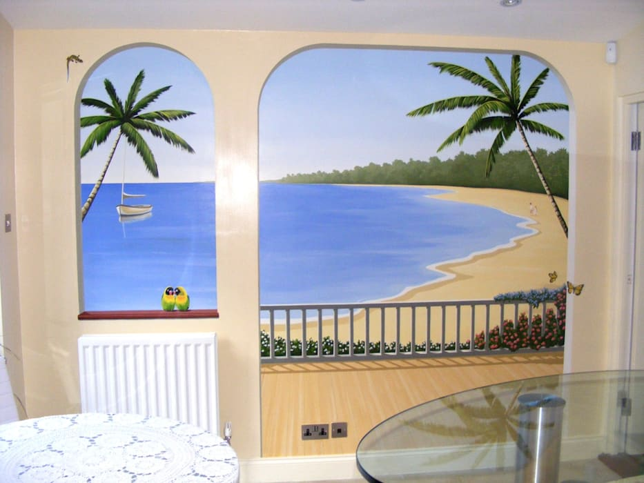Tropical Paradise Mural:  Walls by Marvellous Murals, Mediterranean