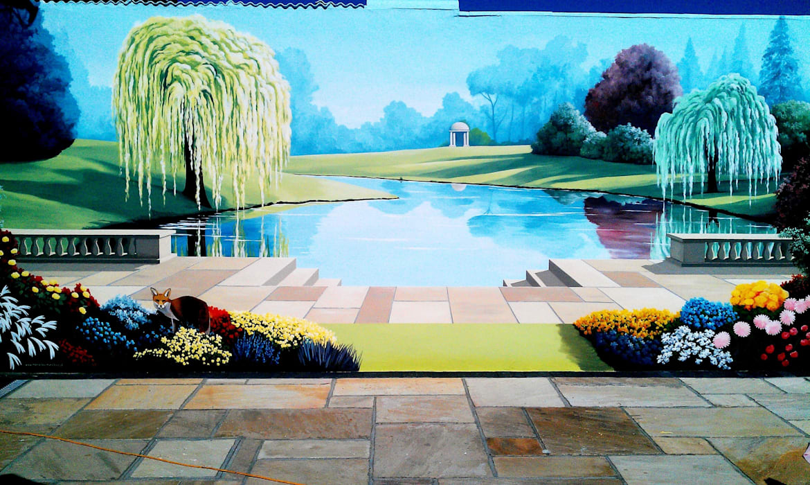 Garden Trompe L'oeil Mural Country style walls & floors by Marvellous Murals Country