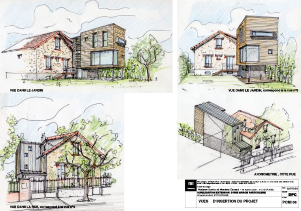 Planche d'insertion du permis de construire Maisons modernes par Atelier d'Architecture Marc Lafagne, architecte dplg Moderne