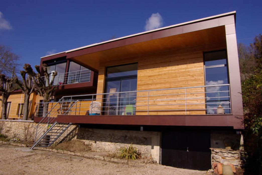 Maison Bioclimatique à Chartrettes Maisons modernes par Atelier d'Architecture Marc Lafagne, architecte dplg Moderne