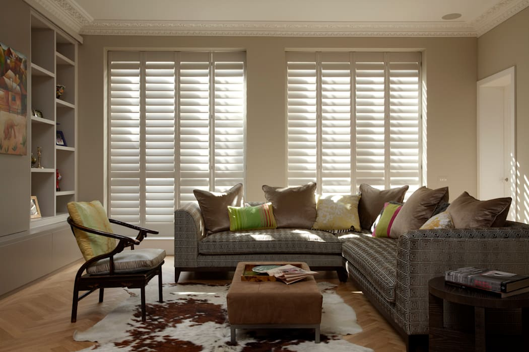 Living Room Shutters : classic  by The New England Shutter Company , Classic