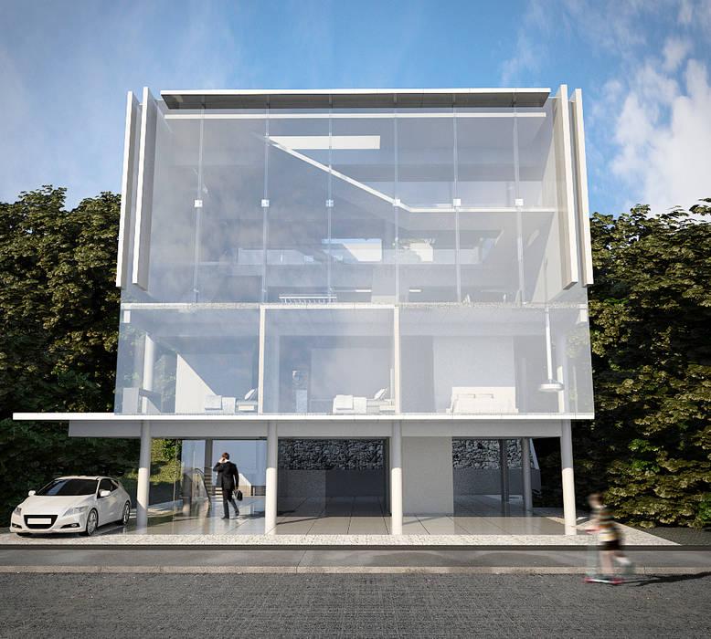CASA POTIRA Paredes e pisos modernos por FCM Arquitetura Moderno