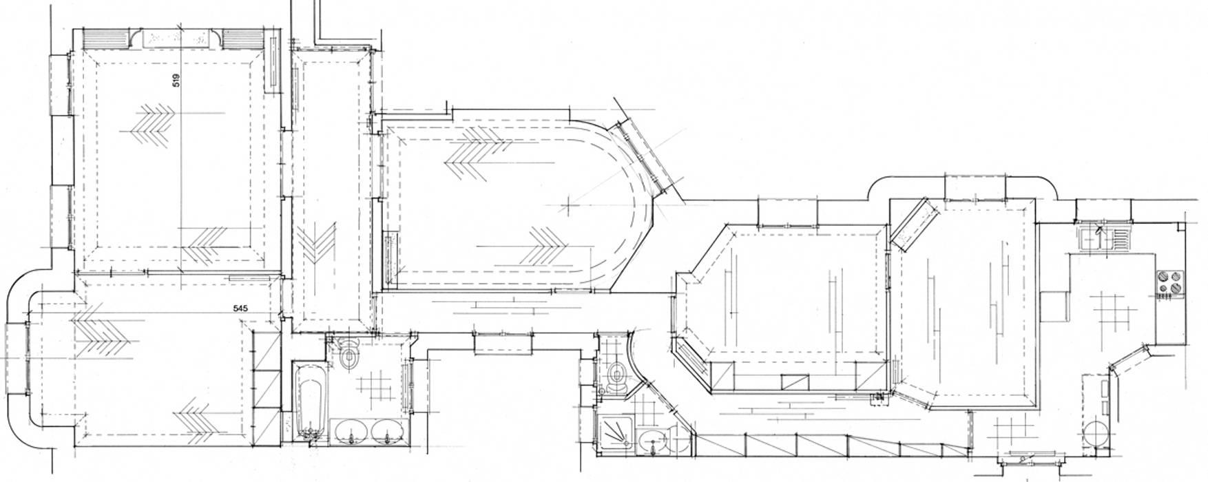 Plan d'Etat des Lieux de l'appartement avant travaux Salon moderne par Philippe Ponceblanc Architecte d'intérieur Moderne