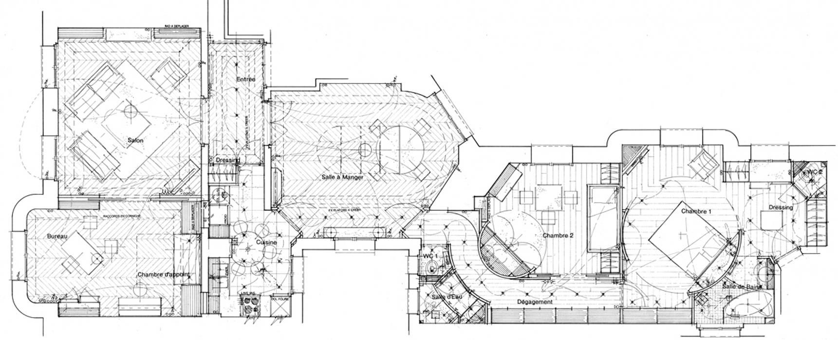 Plan de l'appartement PROJETE Salon moderne par Philippe Ponceblanc Architecte d'intérieur Moderne