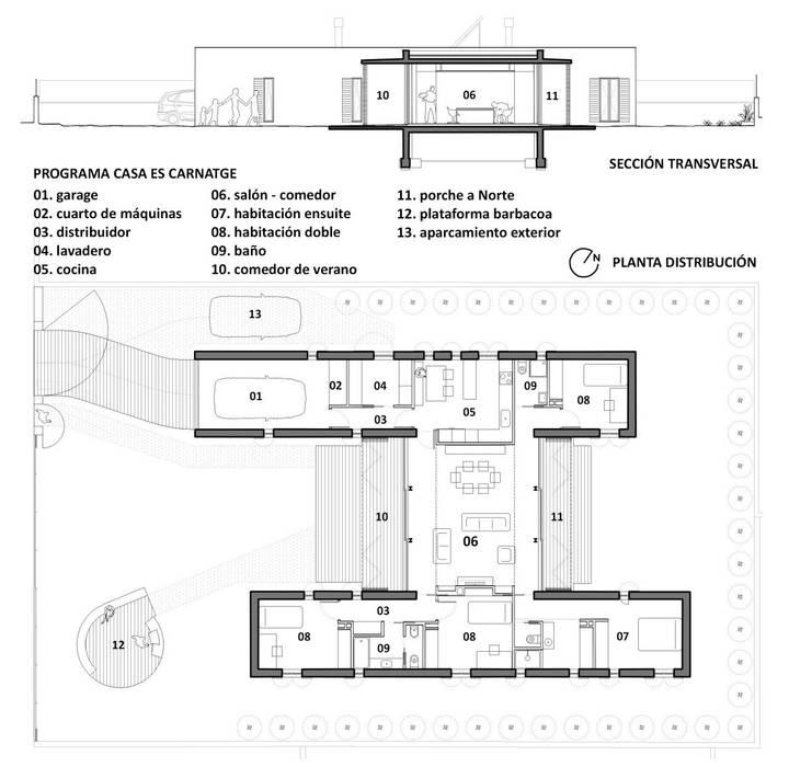 PLANTA Y SECCIÓN: Casas de estilo moderno de Miel Arquitectos