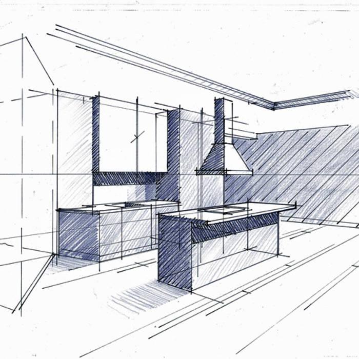 Croquis de principe en phase d'Avant Projet Sommaire: Cuisine de style de style Minimaliste par Philippe Ponceblanc Architecte d'intérieur
