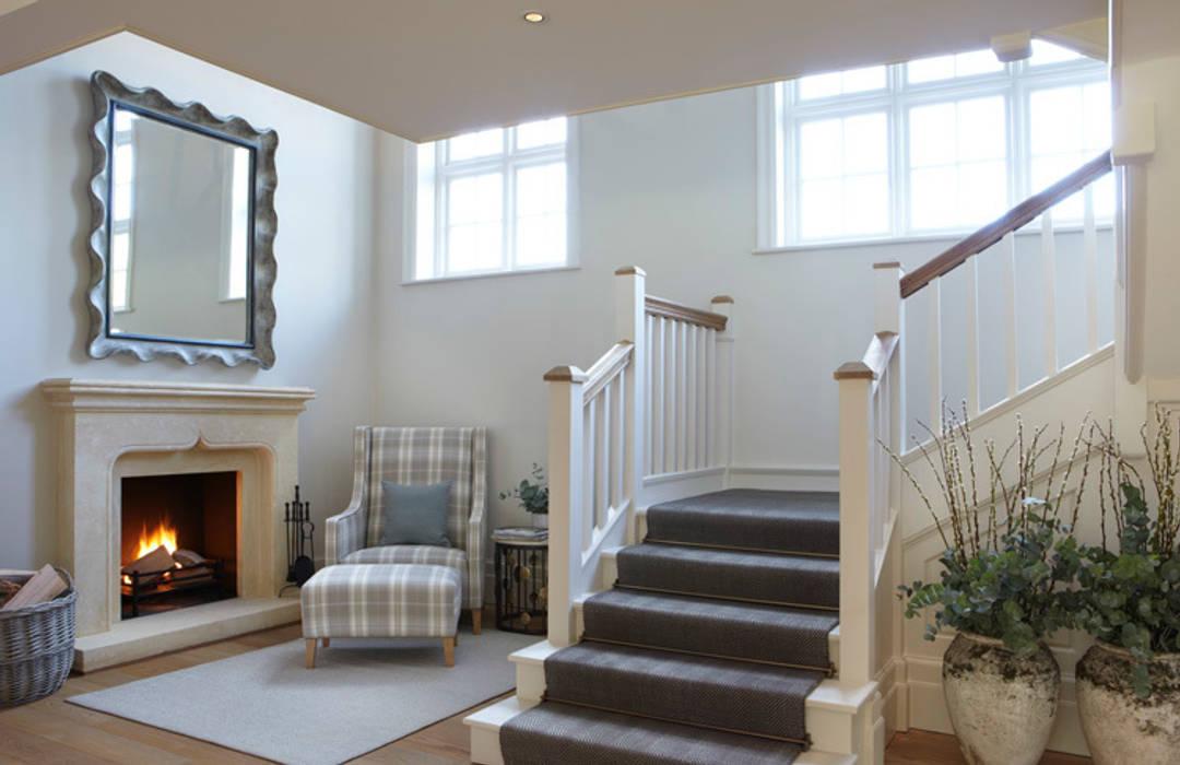Country House, Hampshire 乡村风格的走廊,走廊和楼梯 根據 Helen Green Design 鄉村風