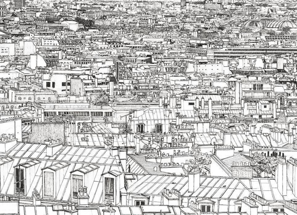 Papier Peint Vue De Paris Invalides Tour Eiffel Panoramique Murs