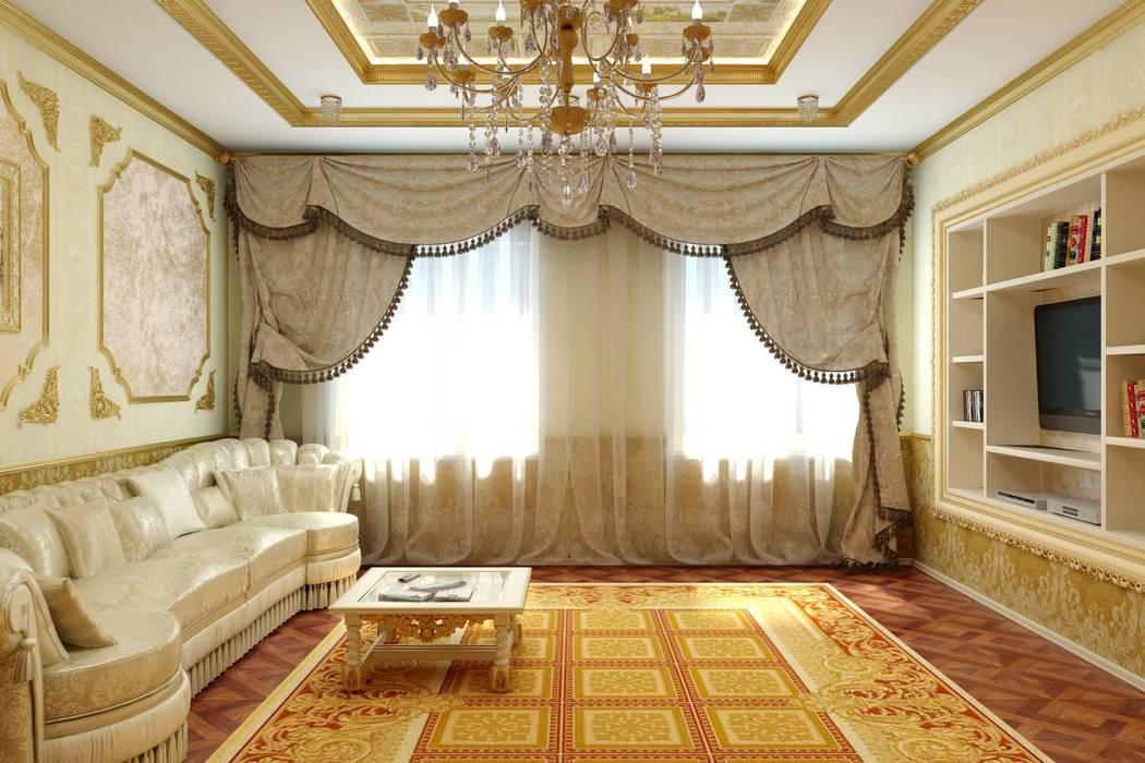 Гостиная в золоте. Частный дом в Черкесске. Гостиная в классическом стиле от Цунёв_Дизайн. Студия интерьерных решений. Классический