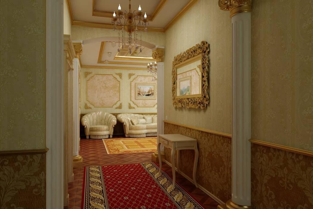Гостиная в золоте. Частный дом в Черкесске.: Гостиная в . Автор – Дизайн студия 'Exmod' Павел Цунев