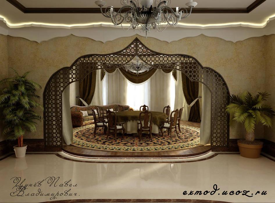 Интерьер холла - столовой в восточном стиле. Цунёв_Дизайн. Студия интерьерных решений. Столовая комната в тропическом стиле