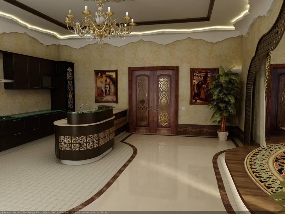 Интерьер холла - столовой в восточном стиле.: Столовые комнаты в . Автор – Цунёв_Дизайн. Студия интерьерных решений.,