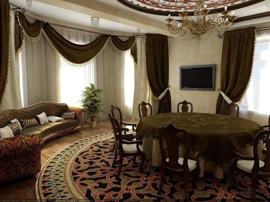 Интерьер холла - столовой в восточном стиле.: Столовые комнаты в . Автор – Цунёв_Дизайн. Студия интерьерных решений., Тропический