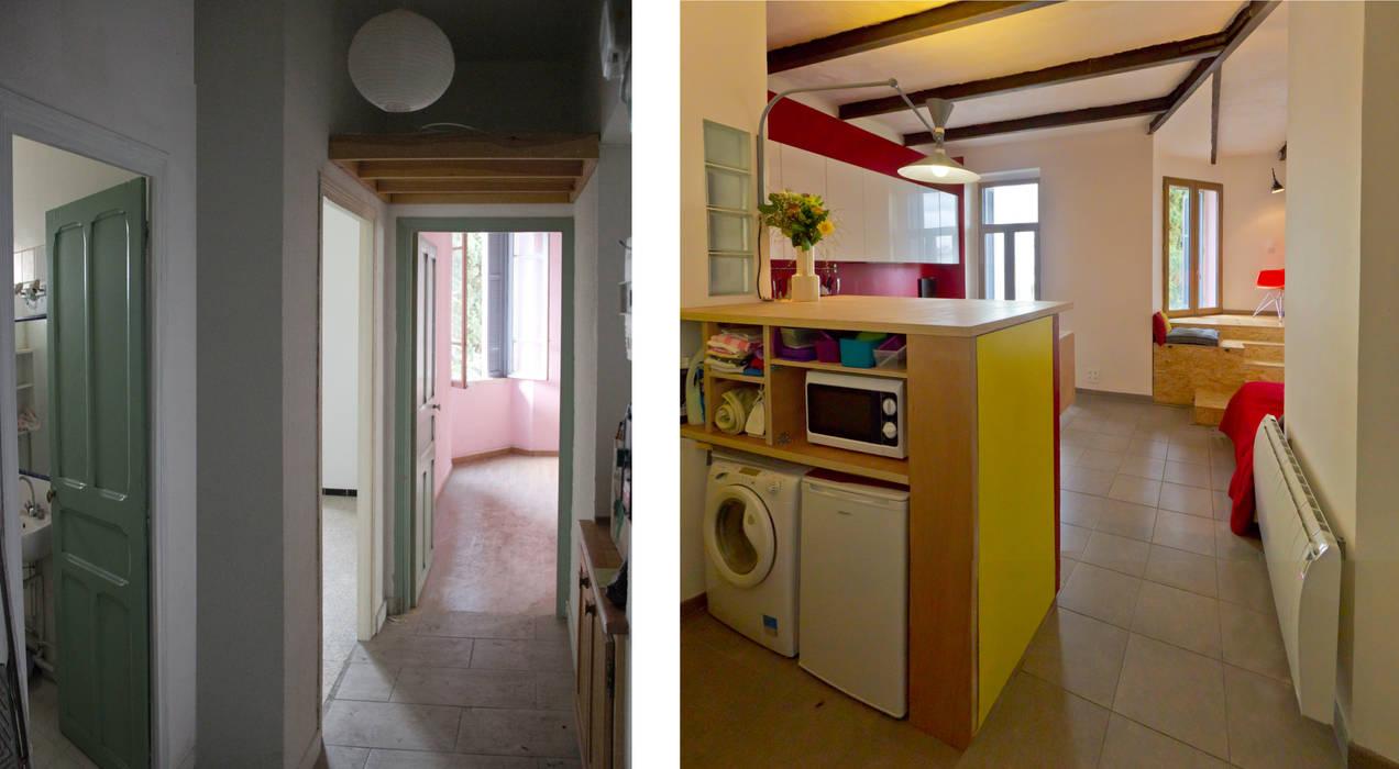 Les pièces de vie avant et après (depuis l'entrée): Salon de style  par Atelier RnB