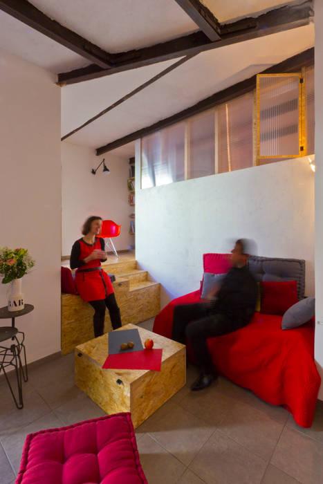 Salones de estilo industrial de Atelier RnB Industrial
