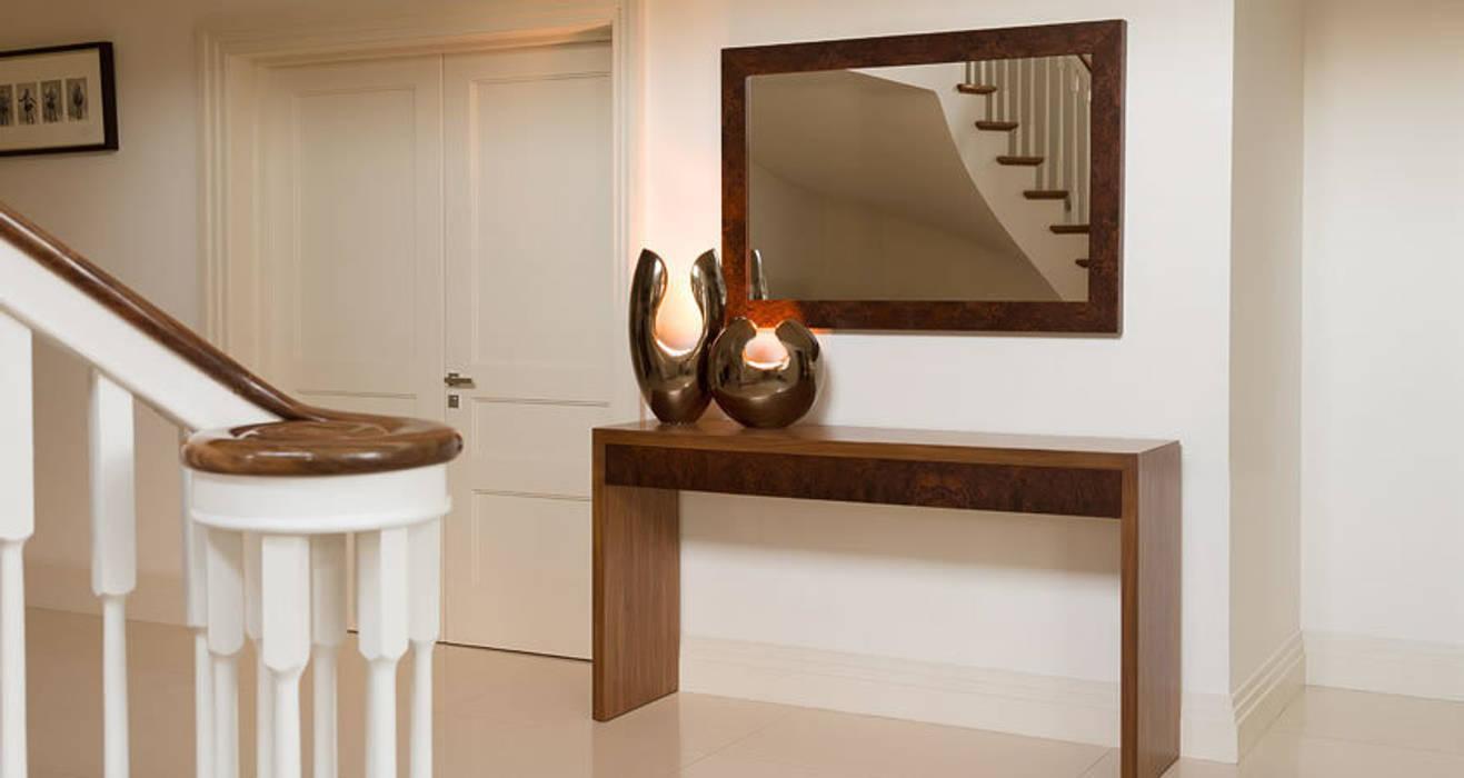 Console table in walnut with burr walnut drawer fronts. Mirror in burr walnut.:  Corridor & hallway by Martin Gallagher
