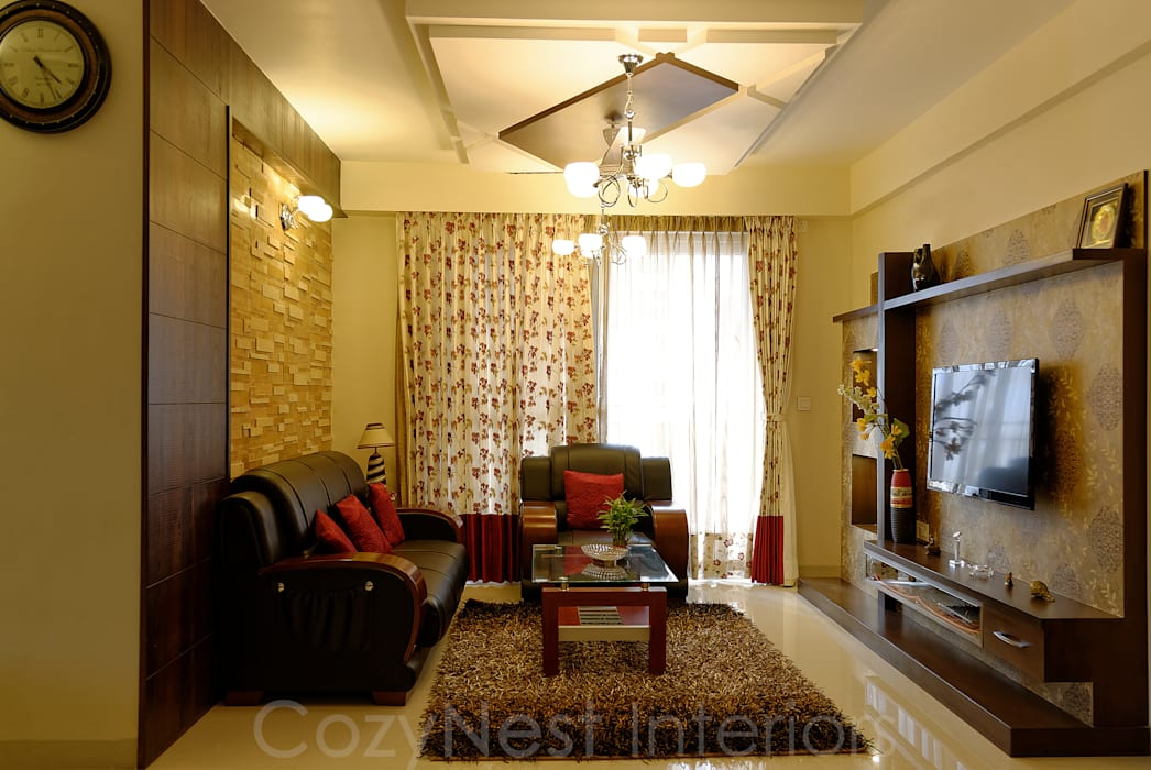 Priyanka & Yashbir:  Living room by Cozy Nest Interiors, Modern