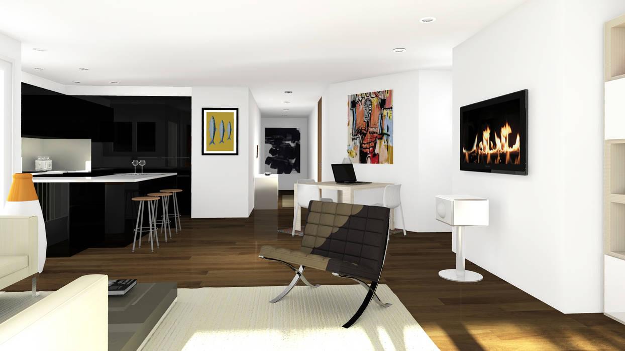 Appartement en attique, Suisse: Salon de style de style Minimaliste par Sandra Hisbèque