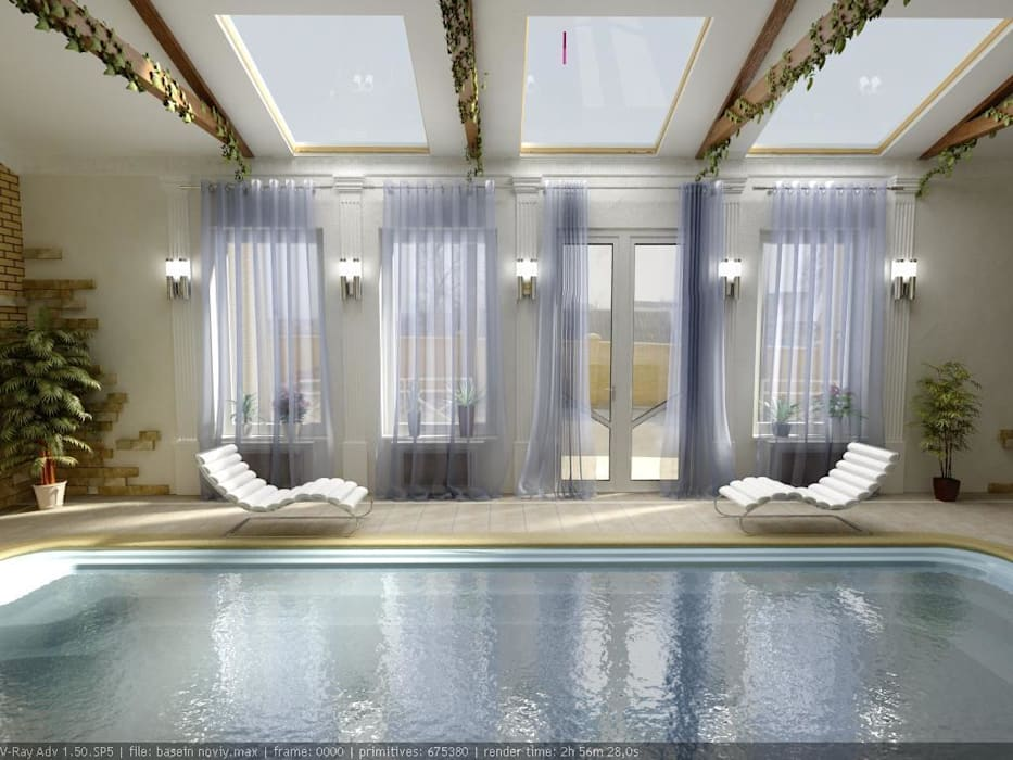 Дизайн проект бассейна: Бассейн в . Автор – Цунёв_Дизайн. Студия интерьерных решений.
