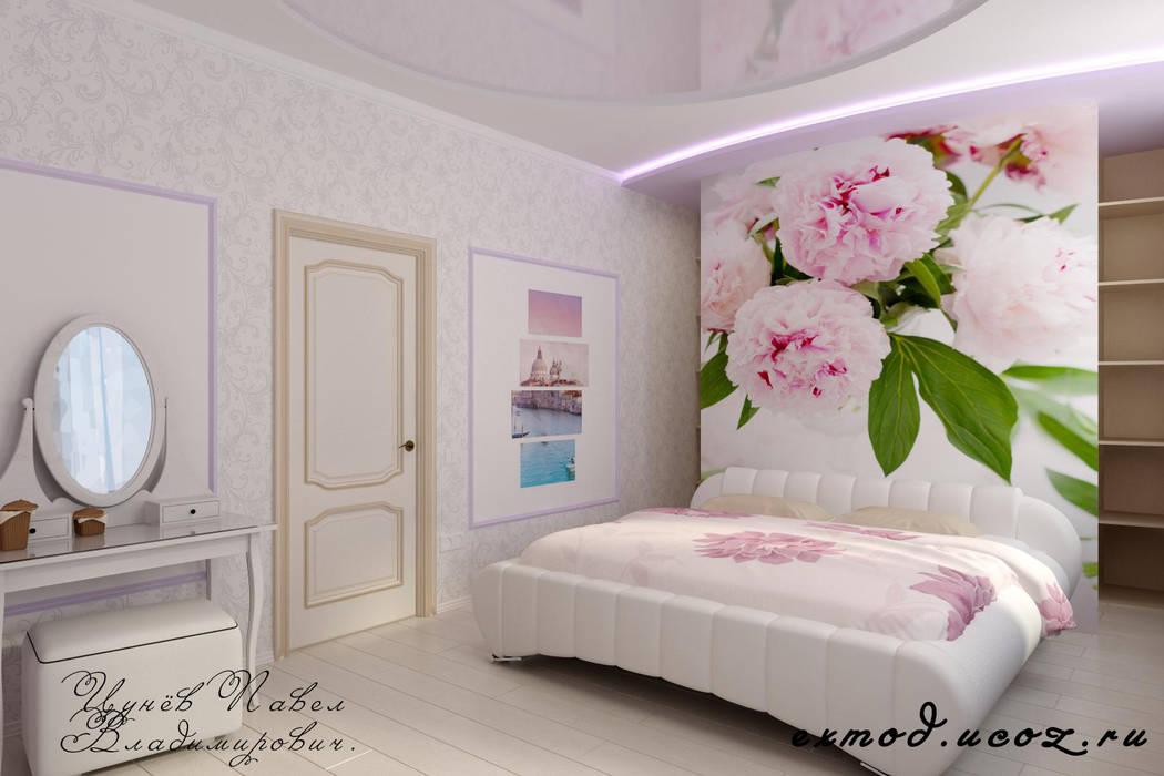 Идея для гардеробной в спальне.: Спальни в . Автор – Дизайн студия 'Exmod' Павел Цунев