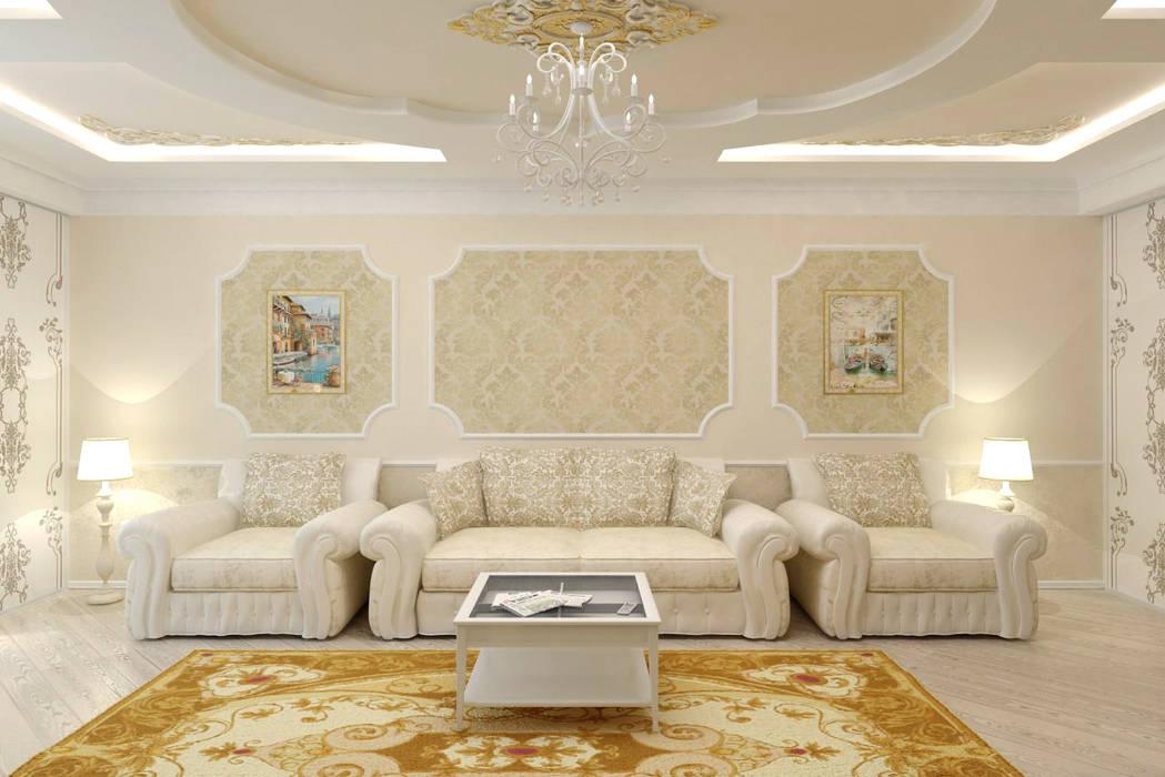 Гостиная в классическом стиле Цунёв_Дизайн. Студия интерьерных решений. Гостиная в классическом стиле