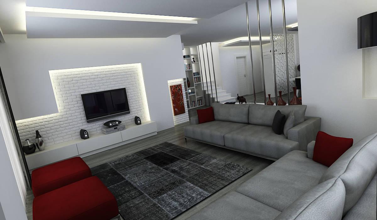 Niyazi Özçakar İç Mimarlık – E.K. EVİ:  tarz Oturma Odası, Modern