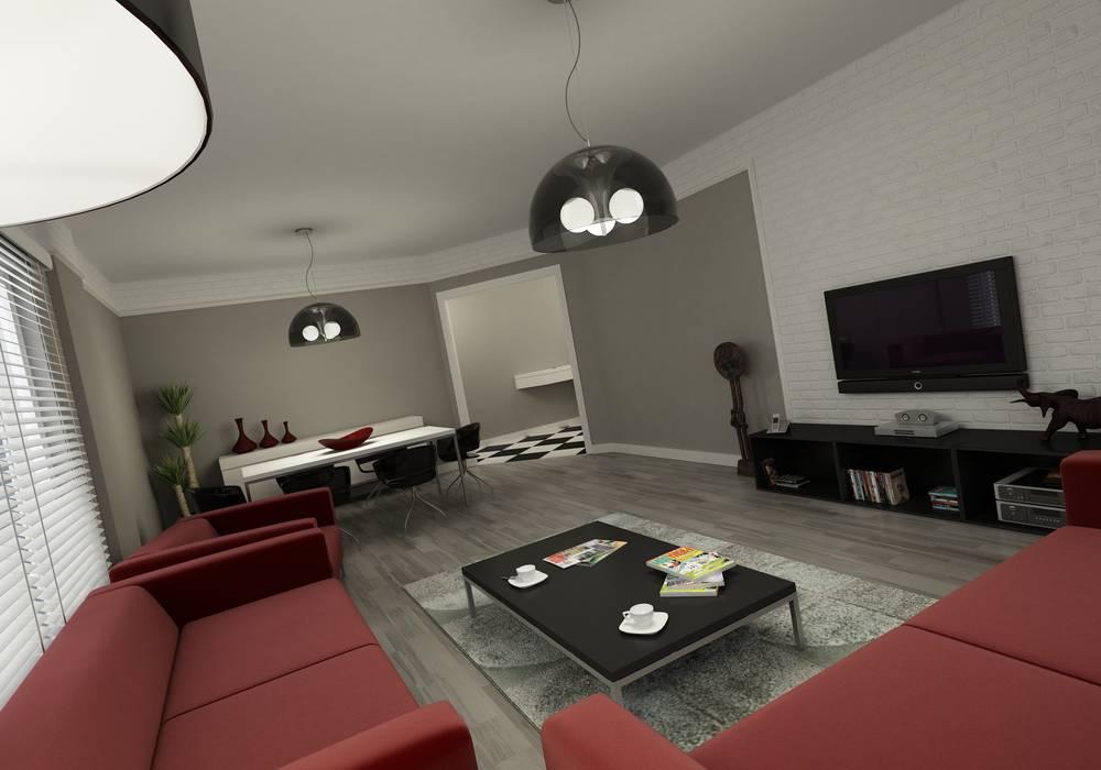 现代客厅設計點子、靈感 & 圖片 根據 Niyazi Özçakar İç Mimarlık 現代風