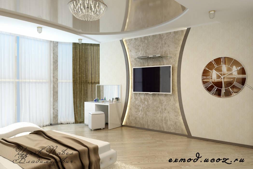 Спальня в современном стиле: Спальни в . Автор – Дизайн студия 'Exmod' Павел Цунев