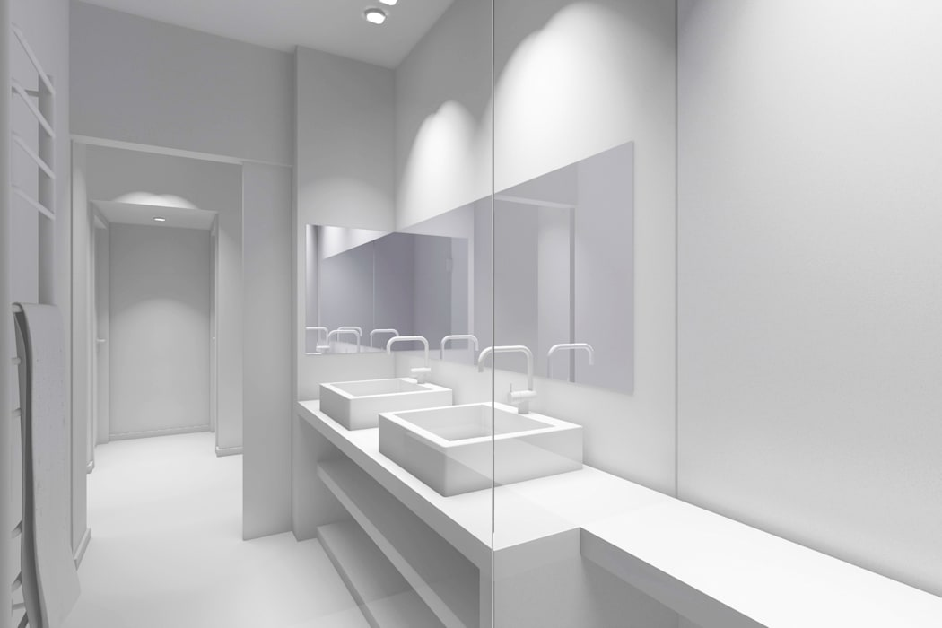 Vues 3d Salle de bain moderne par Lionel Parquet Moderne