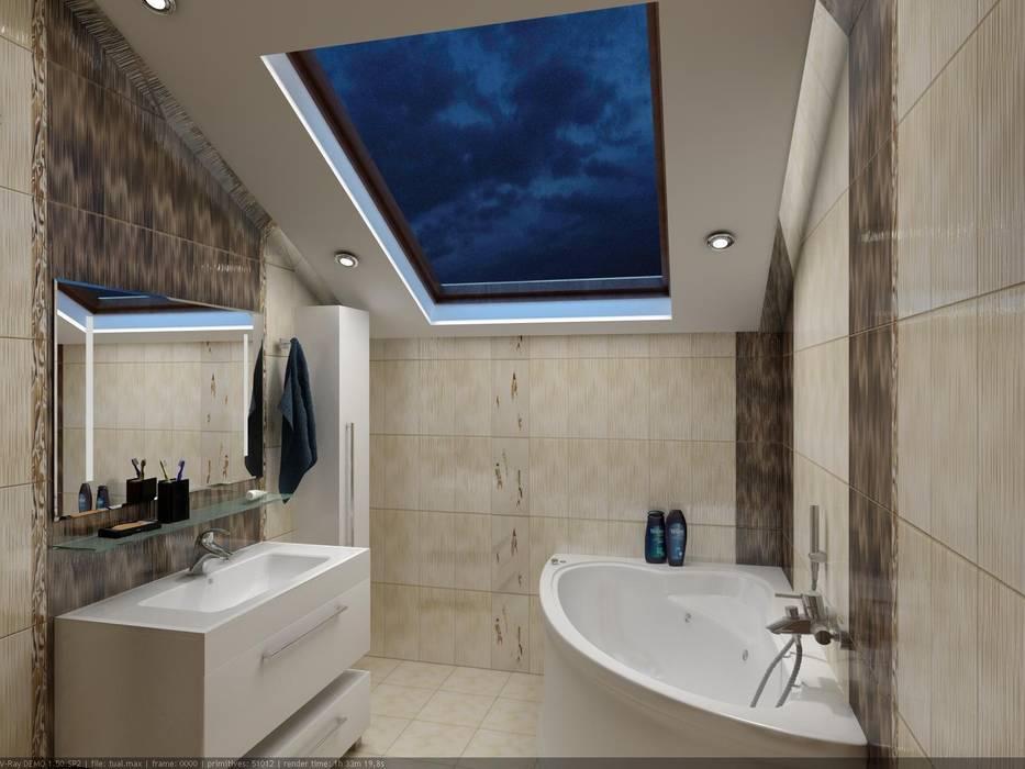Санузел в мансардном этаже.: Ванные комнаты в . Автор – Цунёв_Дизайн. Студия интерьерных решений.