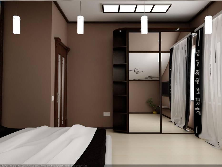 Мансардная спальня в восточном стиле: Спальни в . Автор – Цунёв_Дизайн. Студия интерьерных решений.