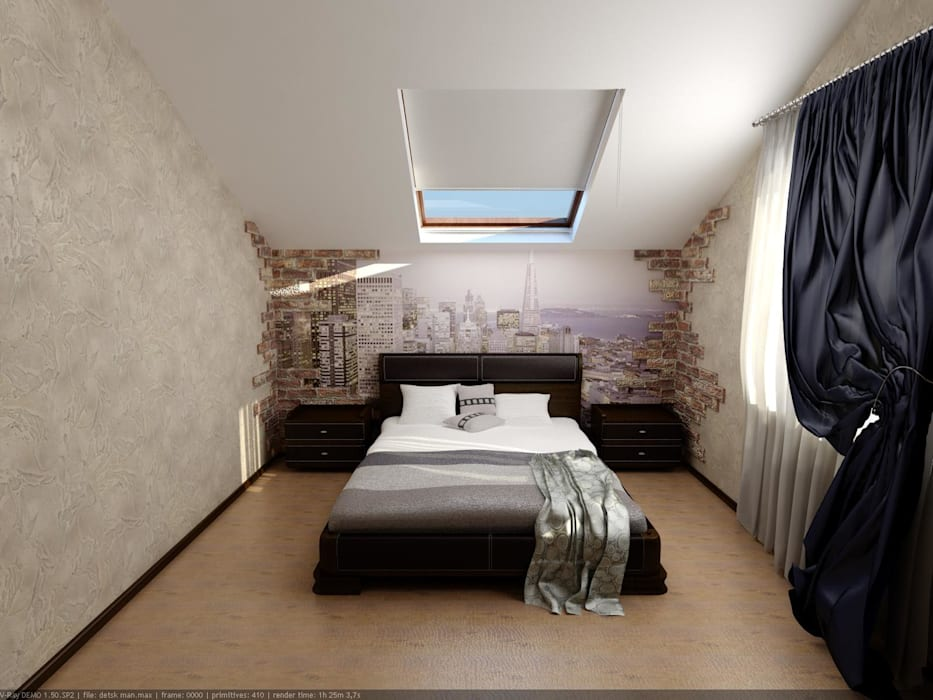 Спальня мансардная Спальня в эклектичном стиле от Цунёв_Дизайн. Студия интерьерных решений. Эклектичный