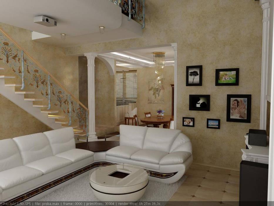 Частный дом г. Невинномысск. гостиная: Гостиная в . Автор – Цунёв_Дизайн. Студия интерьерных решений.