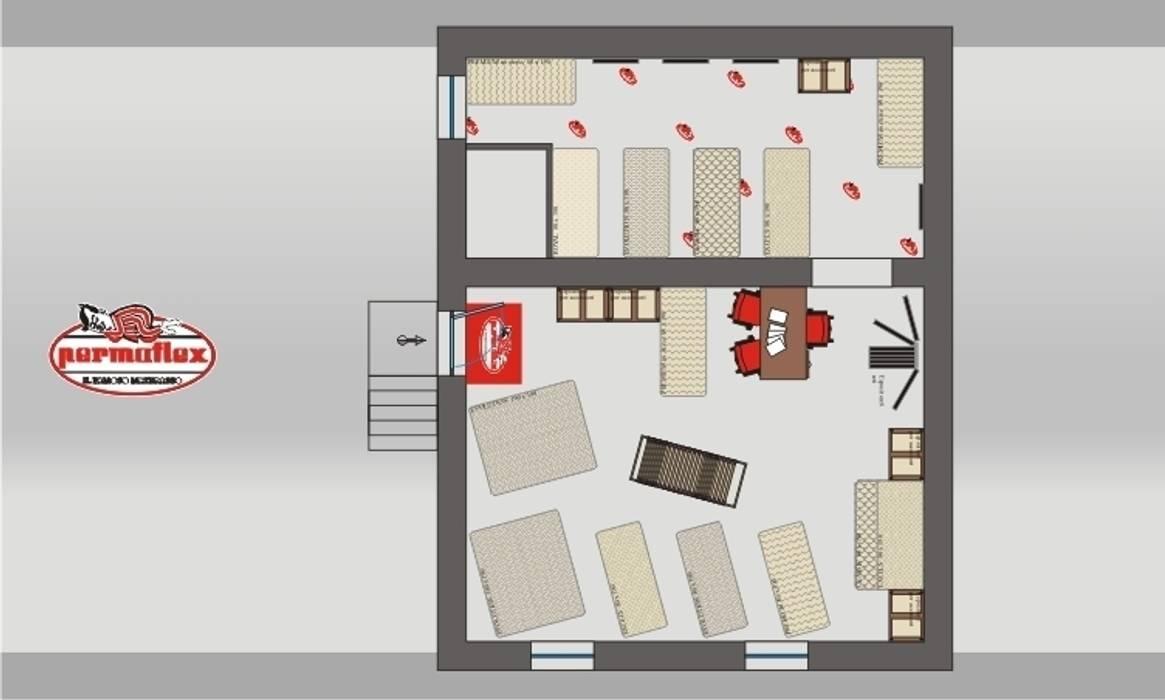 Permaflex punti vendita ed allestimenti progetto Claudio Bettini.: Negozi & Locali commerciali in stile  di bettini design
