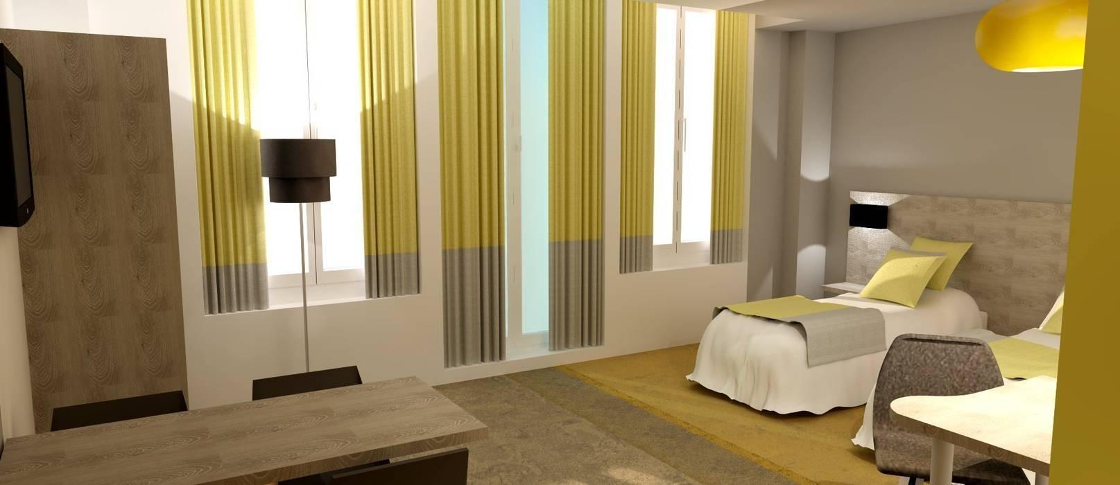Chambre Twin: Hôtels de style  par HANNAH ELIZABETH INTERIOR DESIGN & CREATION