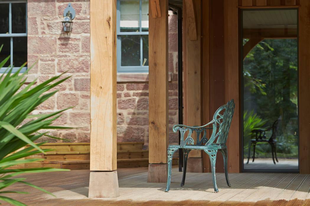 Oak Frame / Decking: country Garden by Architects Scotland Ltd