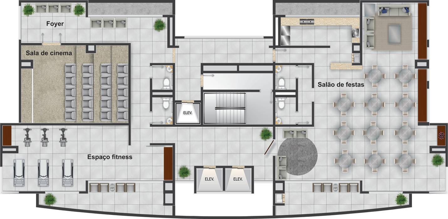 Pavimento Lazer no centro do edifício - 12º andar: Casas  por DE-H ARQUITETURA