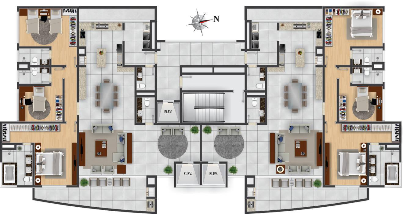 Pavimento Tipo Casas modernas por DE-H ARQUITETURA Moderno