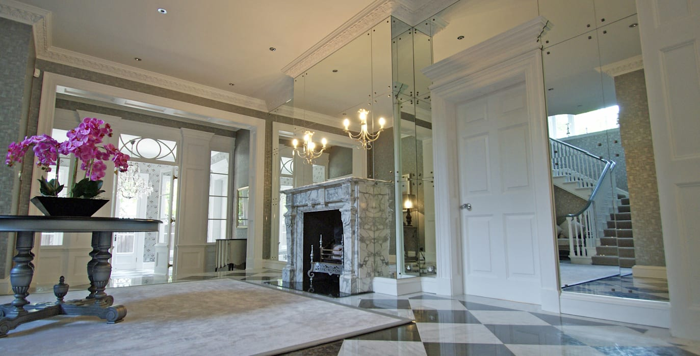 Art Deco Mirrored Foyer, Entrance Hall Modern corridor, hallway & stairs by Mirrorworks, The Antique Mirror Glass Company Modern