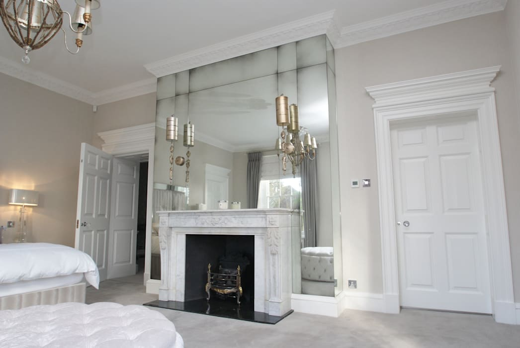 Antique mirror glass over mantel in Master bedroom:  Bedroom by Mirrorworks, The Antique Mirror Glass Company