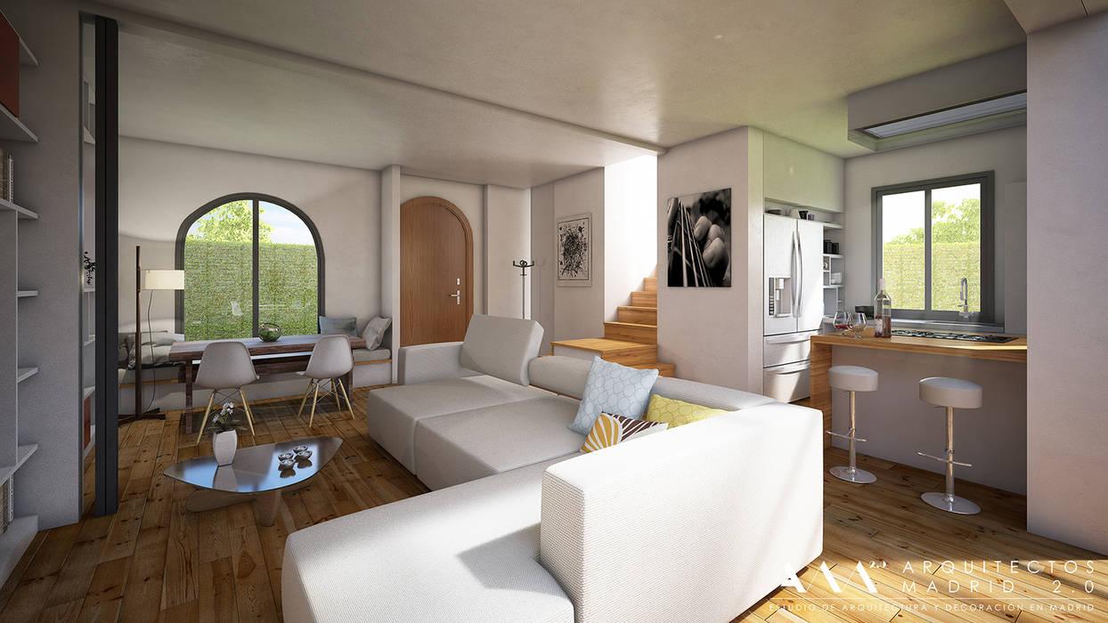 Reforma integral de chalet en Madrid: Salones de estilo moderno de Arquitectos Madrid 2.0