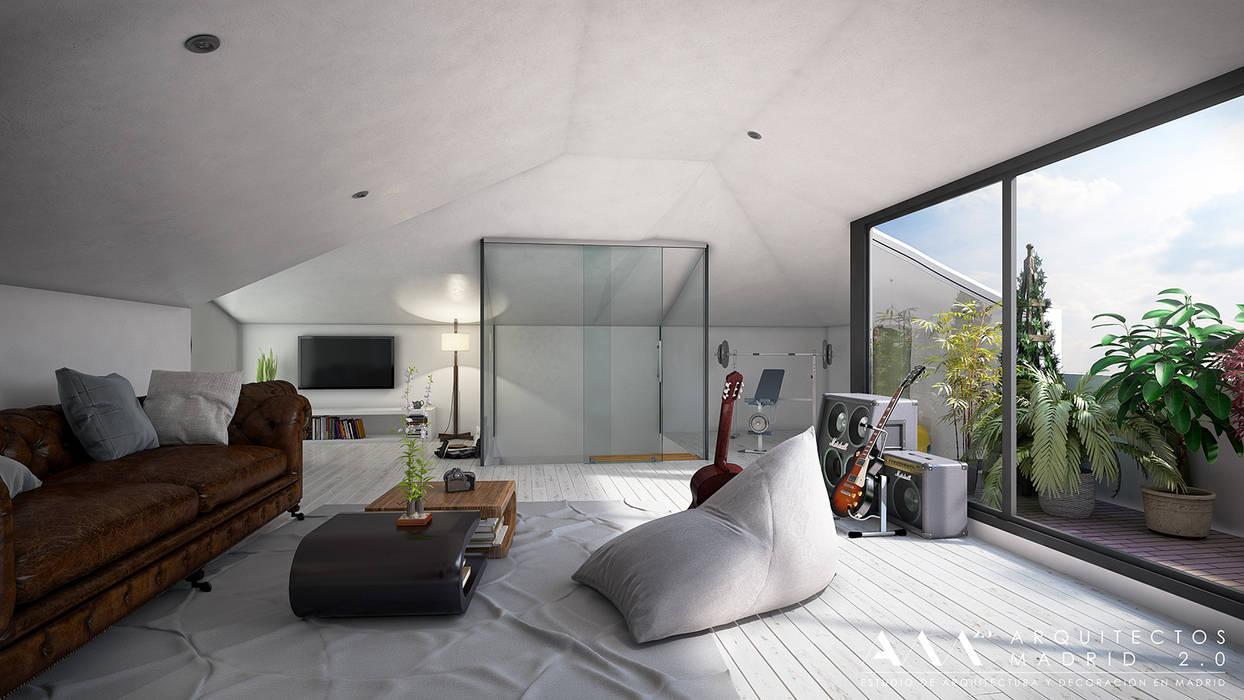 Reforma integral de chalet en Madrid: Gimnasios domésticos de estilo moderno de Arquitectos Madrid 2.0