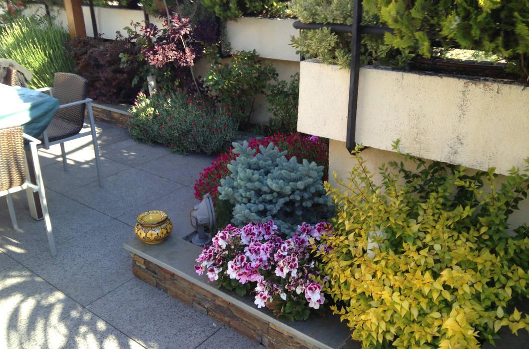 Ático en Arturo Soria Balcones y terrazas de estilo rústico de Heliconia Rústico