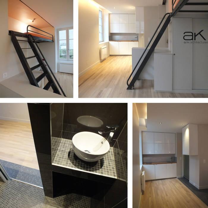 Réhabilitation studio à Clermont-Ferrand: Maisons de style de style Moderne par A/K architectures