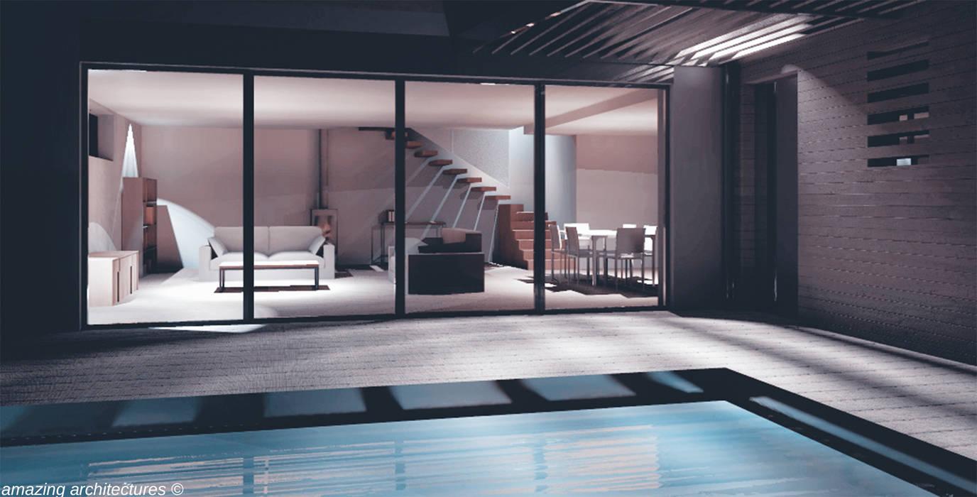 un espace de vie spacieux et généreux Salon minimaliste par amazing architectures Minimaliste