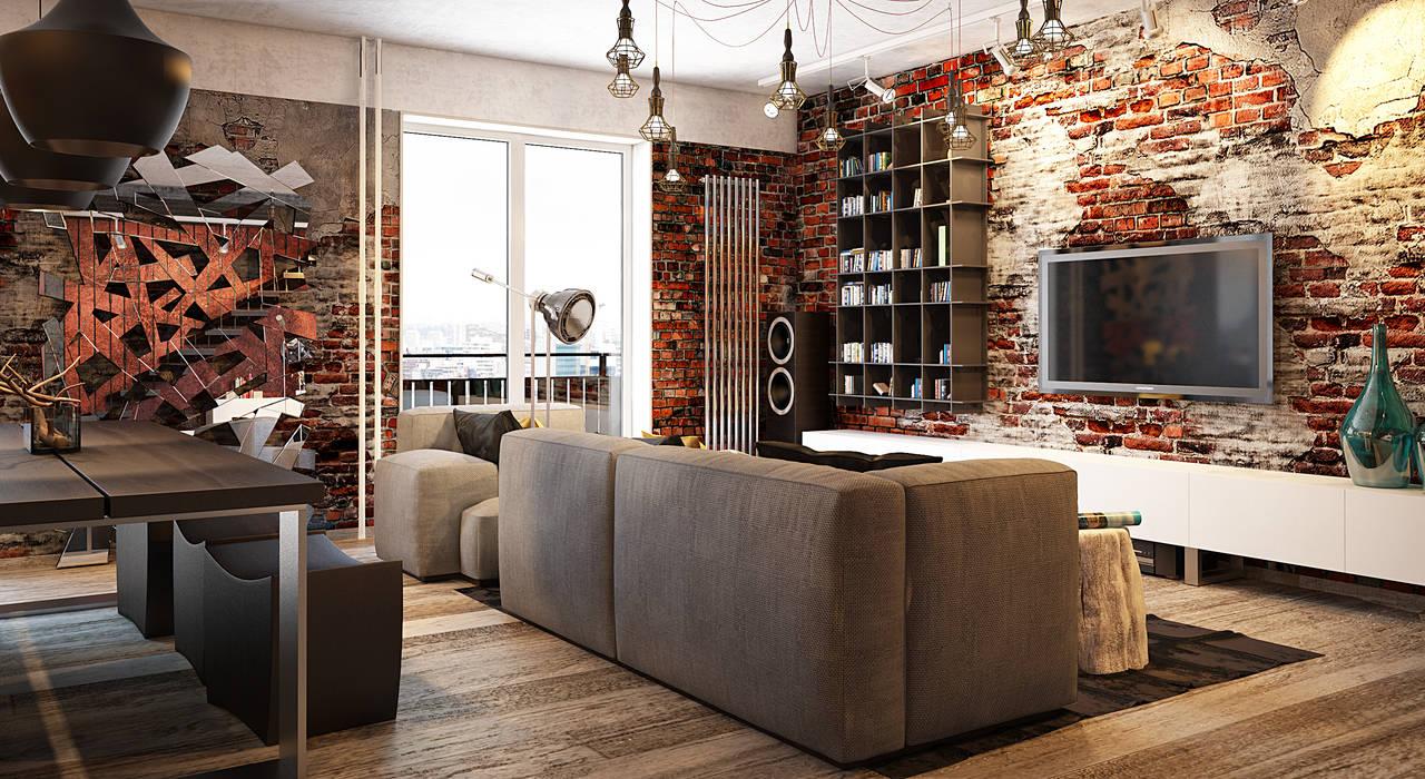Апартаменты в стиле Лофт : Гостиная в . Автор – Павел Белый и дизайнеры