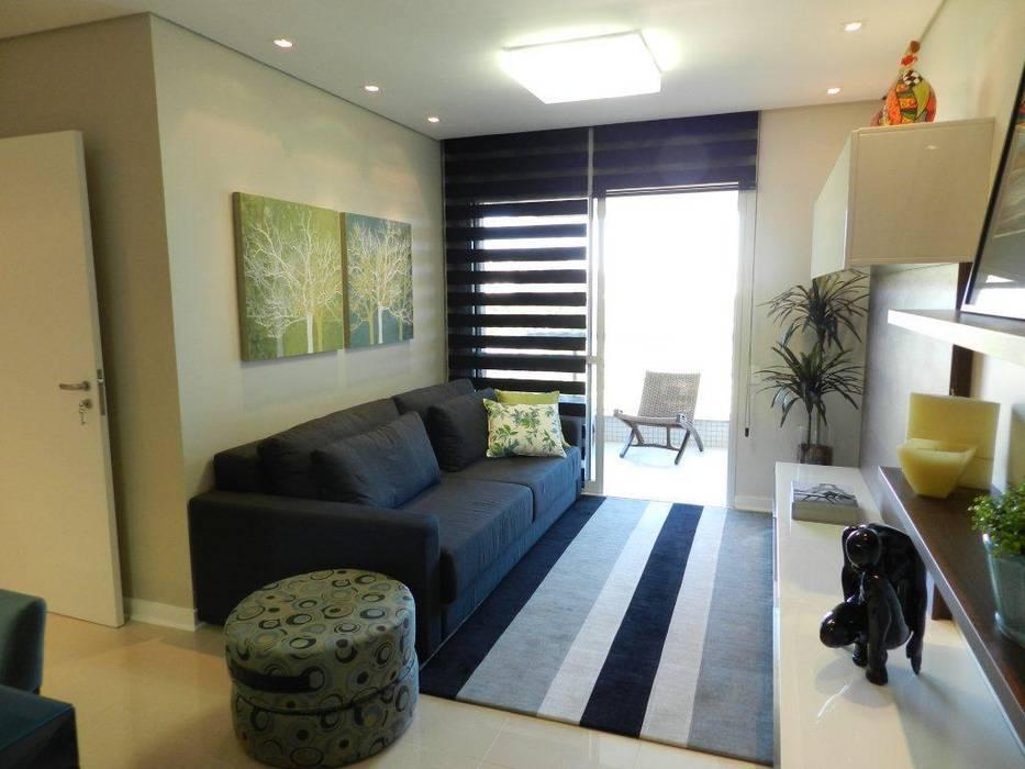 Projeto arquitetônico de interiores para residência unifamiliar. – (Fotos: Luiz Zanoni) Salas de estar ecléticas por ArchDesign STUDIO Eclético