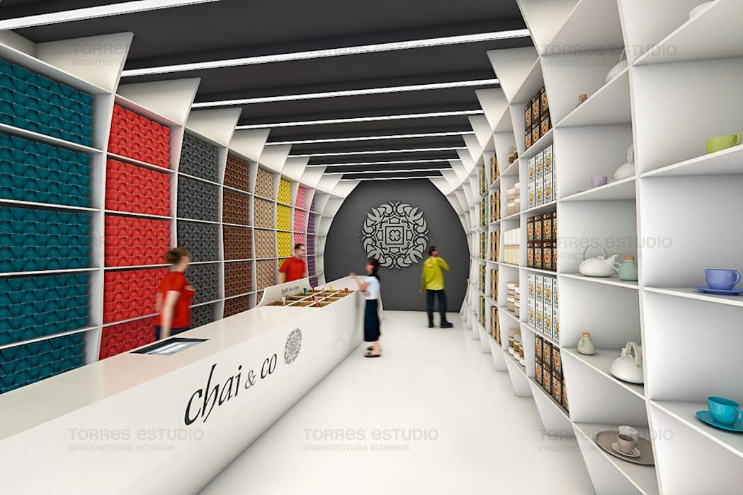 Proyecto de arquitectura corporativa para una nueva Tea Shop: Oficinas y Tiendas de estilo  de Torres Estudio Arquitectura Interior