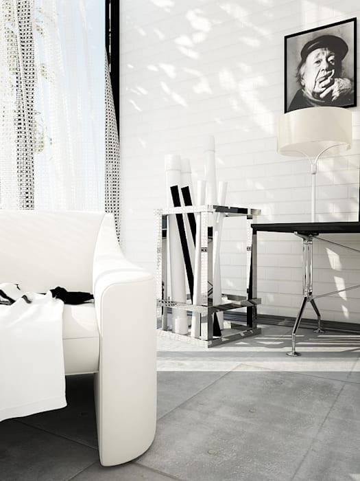 Interiors | Black and White:  Living room by DesigniTures,