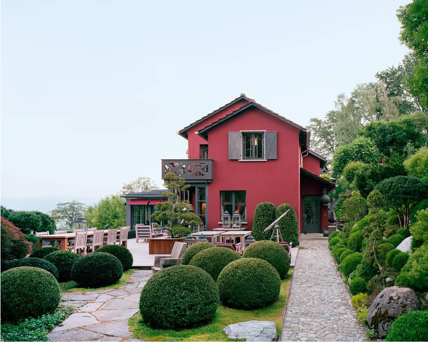 Vom Japanischen Garten Aus Gesehen Balkon Veranda Terrasse Von
